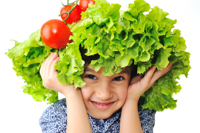 bigstock-kid-with-salad-and-tomato-hat-15442769